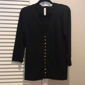 Black snap button down cardigan